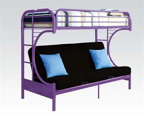 c futon bunk bed purple finish metal c shape twin over full futon bunk bed