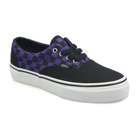 vans era purple vans era purple black check canvas trainers sneakers laced