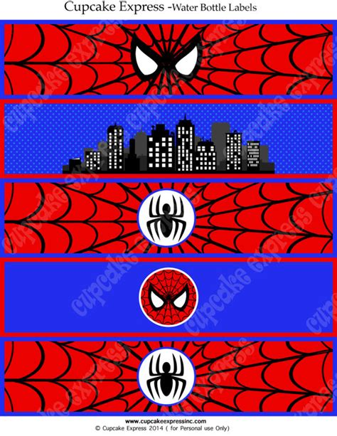 free printable spiderman birthday decorations spiderman instant printable water bottle labels by