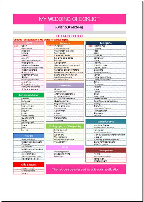 free wedding checklist template free wedding checklist template for excel 2007 2016
