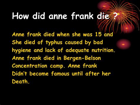 how did die frank animallover ppt