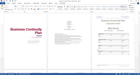 template for business continuity plan business continuity plan 48 pg ms word 12