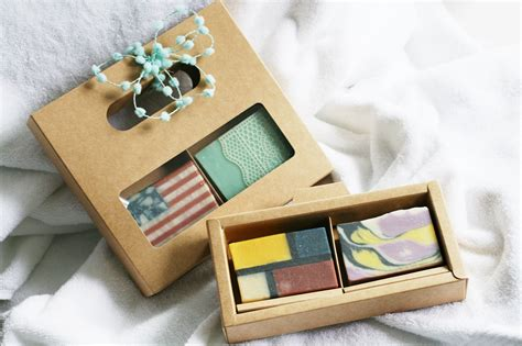 Handmade Soap Gifts - artisan soap gift set 2 soaps one leaf soap