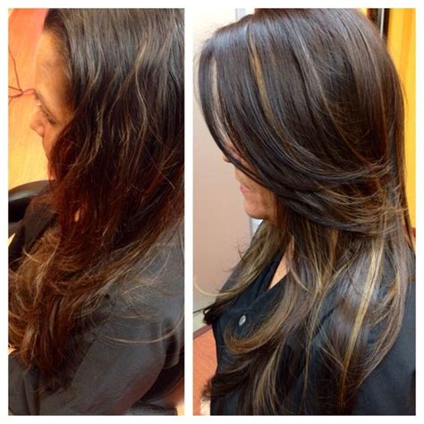 before and after layered haircuts long hair layers peek a boo highlights before after
