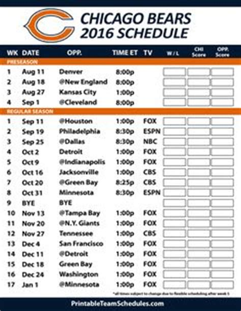 1000+ ideas about chicago bears schedule on pinterest