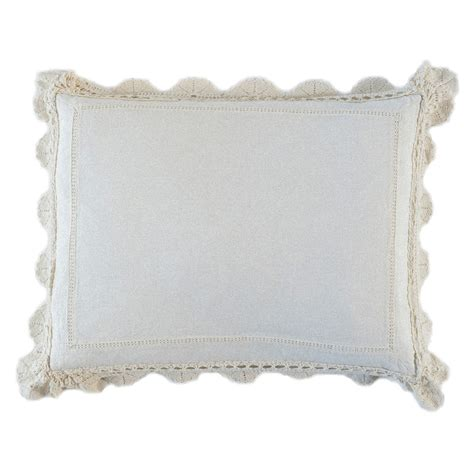 Linen Pillow Sham linen pillow sham with crochet lace by notte linens