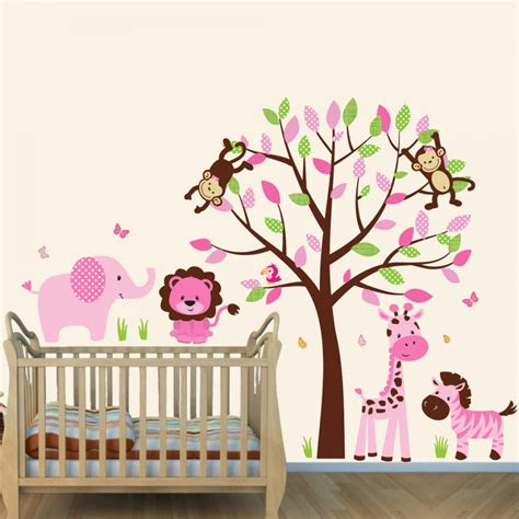nursery safari wall decals pink and brown jungle murals for rooms with elephant