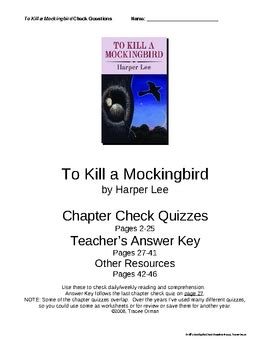 themes for to kill a mockingbird chapter 1 quot to kill a mockingbird quot check questions w key chapters 1