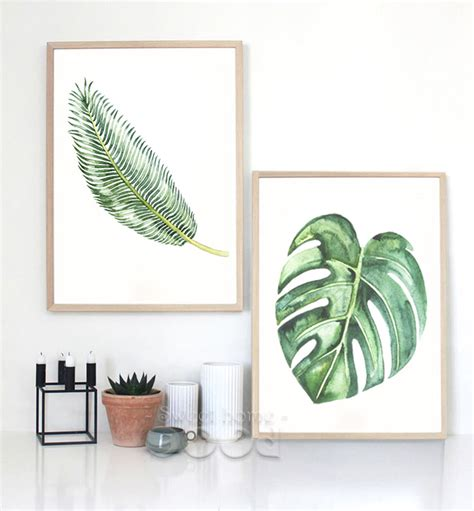 home decoration accessories wall art watercolor tropical leaf canvas art print poster wall