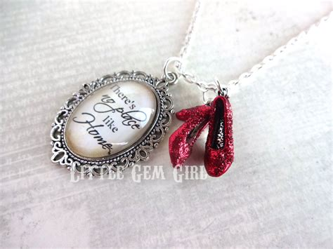 ruby slippers quote wizard of oz necklace ruby slippers oz quote