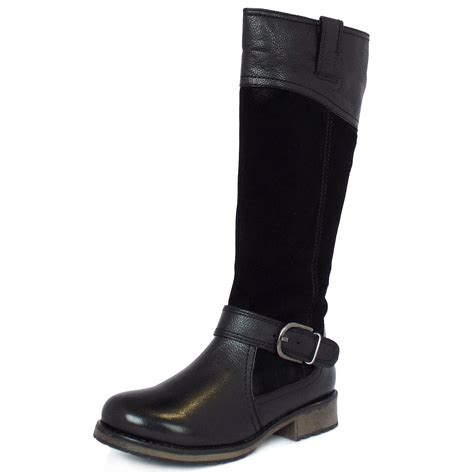 black casual boots lotus smart casual knee high boots in black