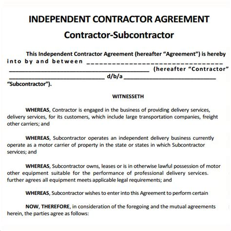 subcontractors contract template sle subcontractor agreement 10 free documents