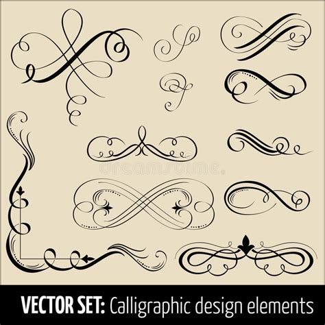 calligraphic design elements and page decoration vector set vector set of calligraphic design elements and pag stock