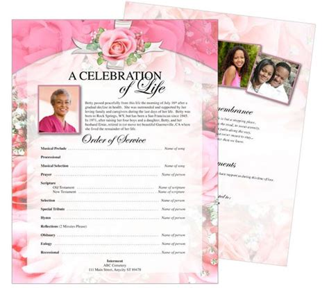 memorial handout template funeral memorial funeral and flyers on