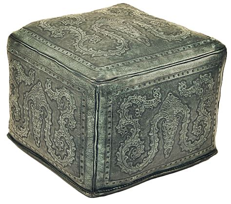 Large Square Leather Ottoman Tooled Leather Large Square Colonial Ottoman In Turquoise