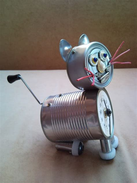 Upcycled Jewelry - recycled tin can cat clock desk table clock with crank arm tail