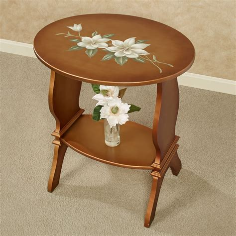 oval accent tables titian magnolia floral oval accent table