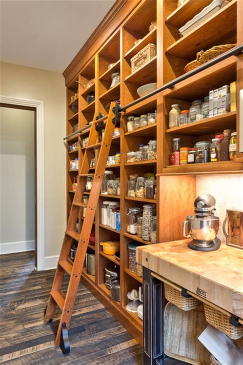 Kitchen Pantry Cabinet Design Ideas Rolling Library Ladder Kitchen Traditional With Black