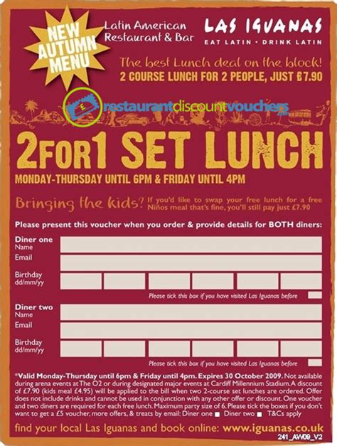 discount vouchers uk restaurants 2 for 1 off lunches at las iguanas
