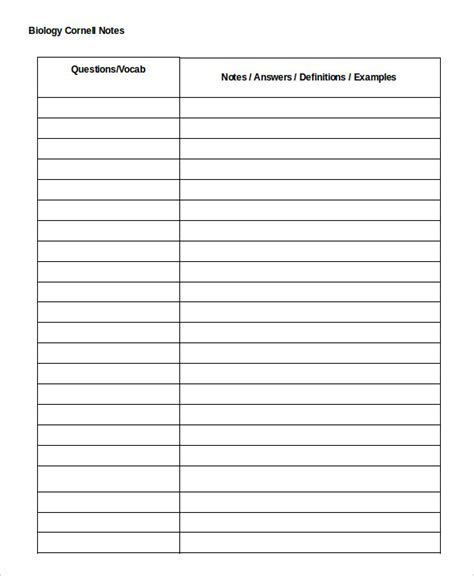 cornell notes word template cornell notes template 9 free word pdf documents