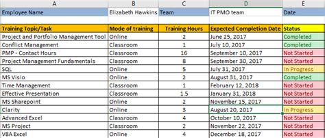 employee training plan excel template free download free