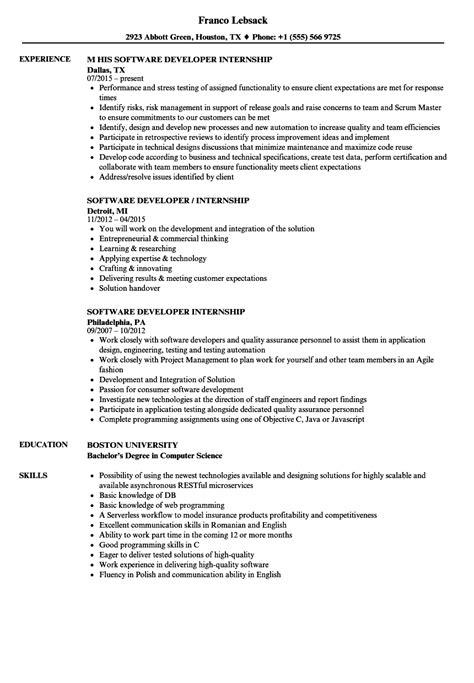software developer internship resume sles velvet