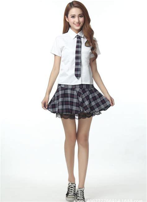 2015  British Short sleeved Plaid  Stundent Uniforms Skirts Dress Miniskirt Women