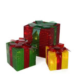 3 piece glistening prismatic gift box lighted christmas