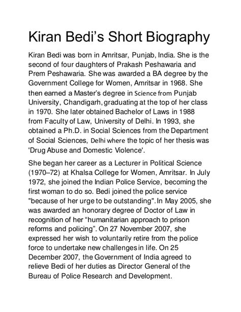 what is biography in english kiran bedi s short biography