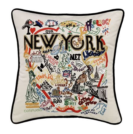 New York Embroidered Pillow by Embroidered Catstudio New York City Pillow