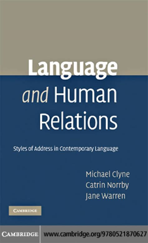 Clyne Norrby And Warren Language And Human Relations By