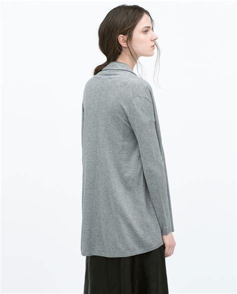 grey draped cardigan zara draped cardigan in gray mid grey lyst