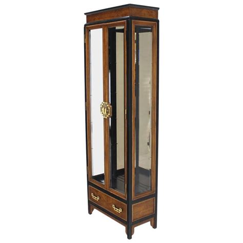 burl wood asian inspired ebonized frame curio cabinet with
