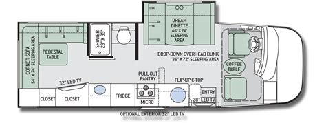 floor plans for motorhomes thor axis 25 1 motorhome floor plan