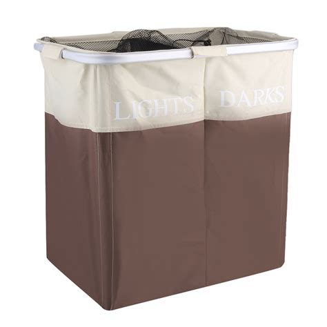 Double Laundry Her Washing Basket Clothes Storage Bin Dual Laundry