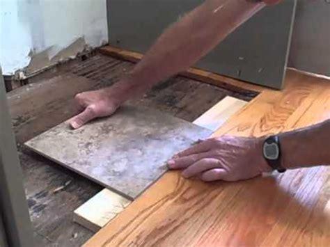 How to Make Tile Flush with Hardwood Floor   YouTube