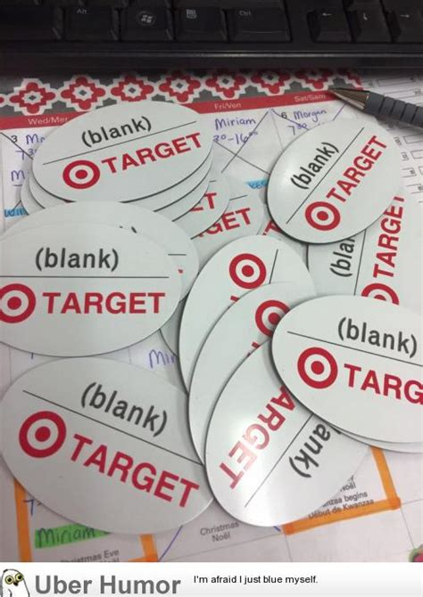 target name target ordered blank name badges so they got blank name badges pictures
