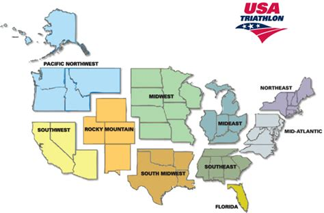 usa map by region usa triathlon regions