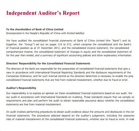 Auditing Introduction Letter Exle Sle Audit Report 8 Documents In Pdf