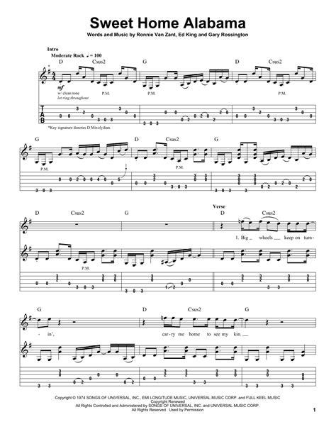 sweet home sheets sweet home alabama sheet music by lynyrd skynyrd guitar