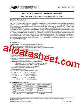 pac7301 データシート(pdf) pixart imaging inc.