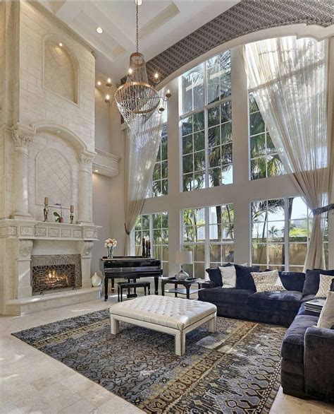 elegant 2 story great room with wall of windows homes