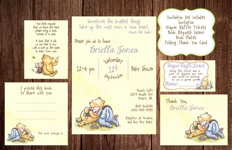 Classic Winnie The Pooh Baby Shower Invitations Printable by Printable Winnie The Pooh Baby Shower Story Book Baby Shower