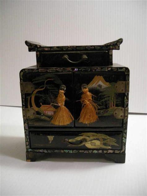 japanese chest antique antique vintage japanese japan wood black lacquer
