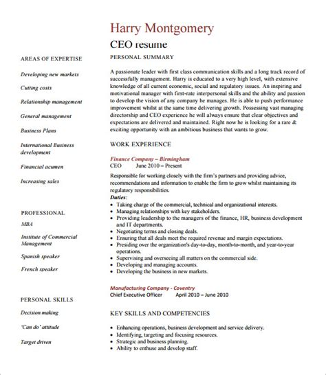 Executive Summary Resume Exle by Chief Executive Officer Resume Template 7 Free Word