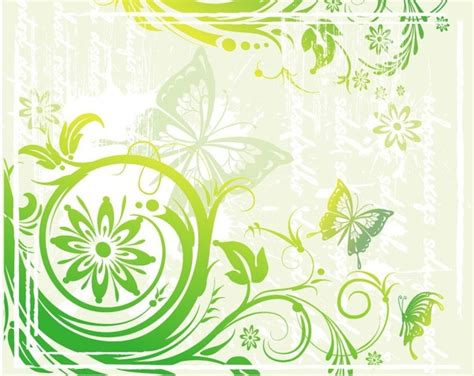Motif Flower Hijau green floral and butterflies vector illustration free