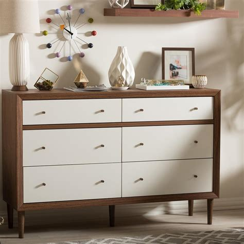 White And Brown Dresser by Baxton Studio Harlow 6 Drawer White And Medium Brown Wood