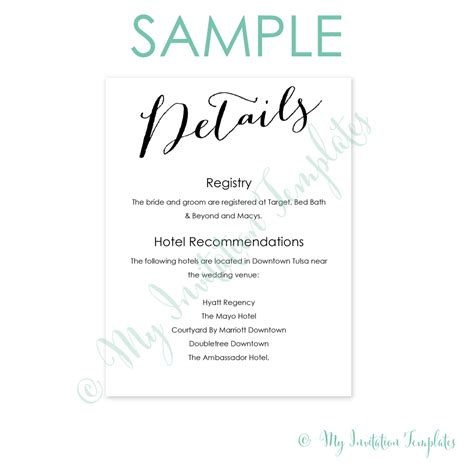wedding details card template free sle calligraphy