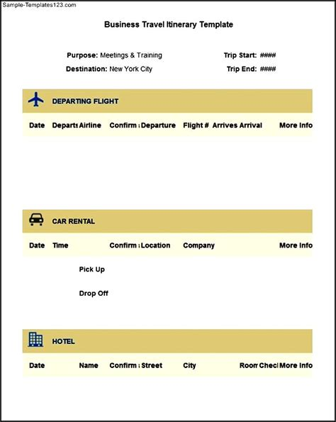 business travel template sle business travel itinerary template free sle templates
