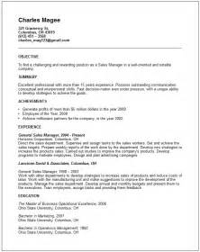 General Manager Resume Exle by Sales Marketing Resume Exles